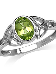cheap -natural peridot white gold plated 925 sterling silver triquetra celtic knot ring size 8.5
