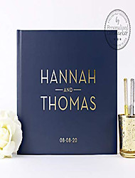 cheap -navy wedding guest book, personalized wedding sign-in book or photo album gift for bride & groom - hardcover (10x8 inches)