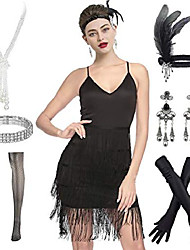 cheap -1920s glitter fringe sequin summer casual club mini party dress w/ 20s accessories set (xl, fringe black)