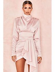cheap -A-Line Empire Elegant Homecoming Party Wear Dress High Neck Long Sleeve Short / Mini Spandex with Sash / Ribbon 2021