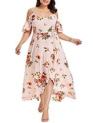cheap -womens plus size maxi dresses, off shoulder flower print low-cut dress hem-split bandeau vintage summer wedding dress pink