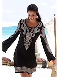 cheap -Women's A Line Dress Knee Length Dress Black Long Sleeve Solid Color Lace up Patchwork Fall V Neck Elegant 2021 S M L XL XXL