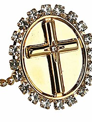 cheap -men's oval tie tack with crystal accent cross, gold