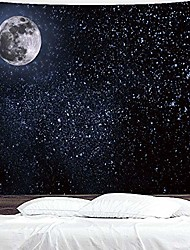 """cheap -black tapestry wall hanging moon stars tapestry starry sky tapestries for bedroom living room decoration(90""""×60"""")"""