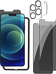 cheap -privacy screen protector for iphone 12 mini, privacy screen protector tempered glass [2pack] + anti scratch & high definition camera lens screen protector [2pack] + easy installation tray