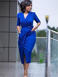 cheap -Women's Sheath Dress Knee Length Dress - Half Sleeve Solid Color Print Fall Elegant Vintage Christmas 2020 Blue Red Green M L XL XXL