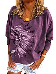 cheap -womens vintage native american indian shirt feather headdress print loose fit long sleeve oversize tee tops purple