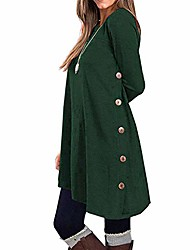 cheap -e-scenery womens long sleeve tunic dress autumn winter casual pullover button side tops green