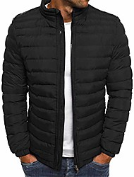 cheap -men's puffer jacket water-resistant insulated down alternative outerwear coats overcoat (black,small)