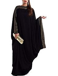 cheap -muslim plus size maxi dresses - women islamic prayer clothing abaya dubai kaftan bat sleeve elegant loose (xxl) black