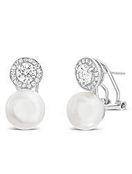 cheap -rhodium plated sterling silver freshwater cultured pearl and cubic zirconia stud halo earrings for women with omega back (white)