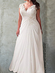cheap -A-Line Wedding Dresses V Neck Floor Length Chiffon Lace Sleeveless Country Beach with 2021