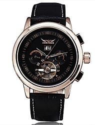 cheap -mechanical watches men luxury brand tourbillon automatic calendar week dial leather strap dress wristwatch