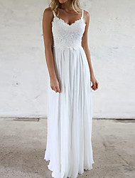 cheap -Sheath / Column Wedding Dresses V Neck Sweep / Brush Train Chiffon Lace Sleeveless Beach with 2020