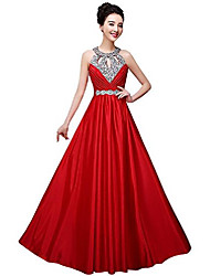 cheap -2019 new beaded o neck long formal evening prom dress open back red size 10
