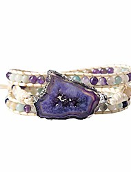 cheap -3 wrap handmade bracelet for women friendsip bead natural agate stone bracelet collection