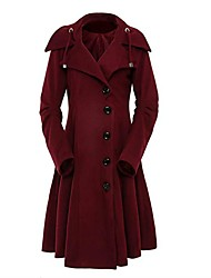 cheap -Women's Solid Colored Basic Fall Trench Coat Long Sport Long Sleeve Cotton Blend Coat Tops Black