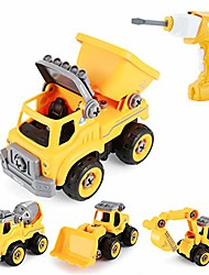 cheap -take apart toys, 4 in 1 construction trucks with electric drill converts to remote control car, gift toys for boys 3,4,5,6,7 years old kids stem building toy
