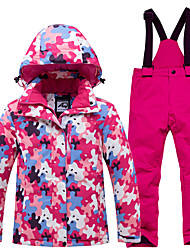 cheap -Girls' Ski Jacket with Pants Ski / Snowboard Winter Sports Thermal Warm Waterproof Windproof Polyester Clothing Suit Ski Wear / Long Sleeve / Camo / Camouflage