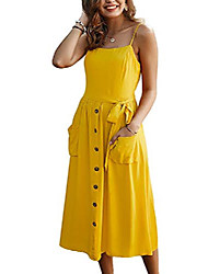 cheap -women's summer casual beach midi dresses sleeveless button down spaghetti strap a-line holiday long sundress with pockets yellow s