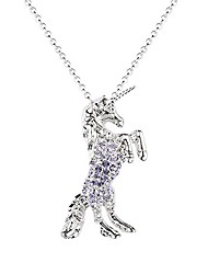 cheap -girls unicorn pendant necklace jewelry gift white gold plated austrian crystal birthstone for kids teens women (amethyst)