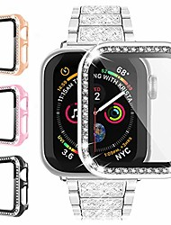 cheap -4 pack apple watch case for iwatch series 3/2/1 40mm with built in tempered glass screen protector, anti-scratch hard pc bumper full body cover bling diamond rhinestone frame for women accessories