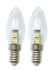 cheap -2pcs 1 W LED Candle Lights 60 lm E14 7 LED Beads SMD 5050 Warm White White 180-240 V