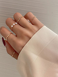 cheap -Ring Pearl Classic Gold Alloy Wave Simple Fashion Trendy 1 set One Size / Women's