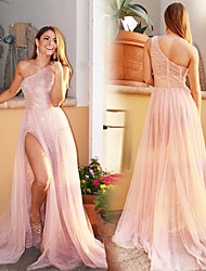 cheap -Women's Sheath Dress Maxi long Dress - Sleeveless Solid Color Layered Split Lace Summer One Shoulder Elegant Sexy Party Slim 2020 Blushing Pink S M L XL
