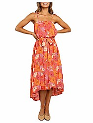 cheap -owegai dress women fashion sweet square collar floral print sleeveless bandage mid-calf dress