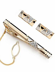 cheap -golden cuff links and tie clip set with gift box,boys cufflinks tie bar for wedding business for men (golden cufflinks and tie clip set)
