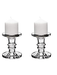 """cheap -glass candle holders for 3"""" pillar or 3/4"""" taper candle. candle holder height-4.5"""", clear glass, wedding decoration, candlestick pack of 2 pcs"""