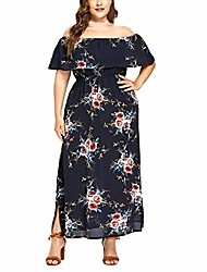 cheap -women's casual off the shoulder layered trim short-sleeved patterned waist split plus size dress (3x-large, navy)