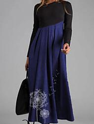 cheap -Women's Swing Dress Maxi long Dress Blue Khaki Gray Long Sleeve Print Color Block Patchwork Print Fall Winter V Neck Elegant 2021 S M L XL XXL 3XL 4XL
