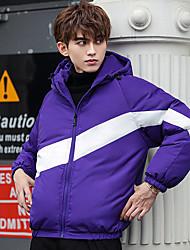 cheap -Men's Down Parka Color Block POLY Black / Purple / Red M / L / XL