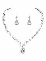 cheap -silver/gold plated women cubic zirconia cz marquise teardrop bridal tennis necklace and drop earring set for wedding brides (silver)
