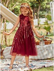 cheap -Kids Girls' Sweet Cute Striped Sequins Sleeveless Midi Dress Red