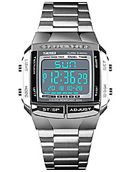 cheap -mens watches military sports watches waterproof led dual-time countdown alarm luminous digital watch (silver)