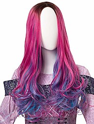 cheap -wigs for kids child girls long wavy pink mixed blue wig black roots pink curly wigs cosplay wigs for halloween costumes and party synthetic heat resistant wig (kids)