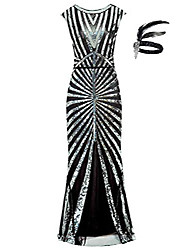 cheap -1920s sequin mermaid formal long flapper gown great gatsby party evening dress (xl, black)