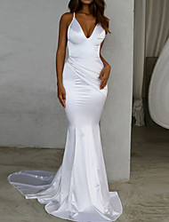 cheap -Mermaid / Trumpet Wedding Dresses V Neck Sweep / Brush Train Satin Spaghetti Strap Simple Sexy Backless with 2021
