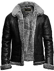 cheap -mens fur shearling b3 flying bomber sheepskin aviator raf leather jacket (3xl) black