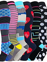 cheap -6 pairs graduated medical compression socks for women&men 20-30mmhg knee high sock (multicoloured 2a, small/medium(us size))