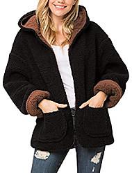 cheap -women's soft sherpa fleece faux fur plush teddy bear puffer hoodie reversible warm winter coat jacket (black/mocha, medium)
