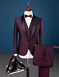 cheap -Burgundy Solid Colored Slim Fit Spandex / Cotton / Polyester Suit - Shawl Collar Single Breasted One-button / Suits