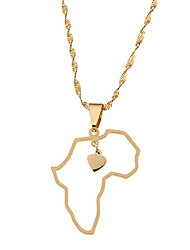 cheap -african map pendant necklace jewelry heart charm map of africa continent jewelry