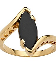cheap -18k yellow gold plated marquise shaped natural black onyx bypass ring size 10