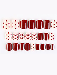 cheap -White and Red New Geometric Series Fake Nails Finished Nail Art Patch Fake Nail Wearing Nail Art Nail Patch Color Nail Patch 24pcs