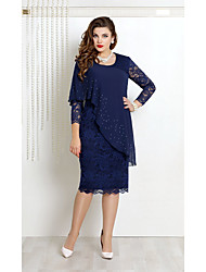cheap -Women's A Line Dress Knee Length Dress Blue Green Navy Blue 3/4 Length Sleeve Solid Color Mesh Lace Patchwork Fall Spring Round Neck Formal Casual 2021 S M L XL XXL 3XL 4XL 5XL / Plus Size