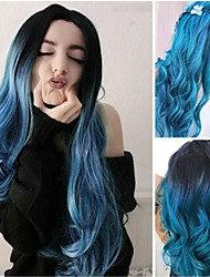 cheap -Fashion New Style Ladies Dyeing  Long Curly Hair Cos Big Wave Purple Blue Chemical Fiber Hair Cover 26 Inches
